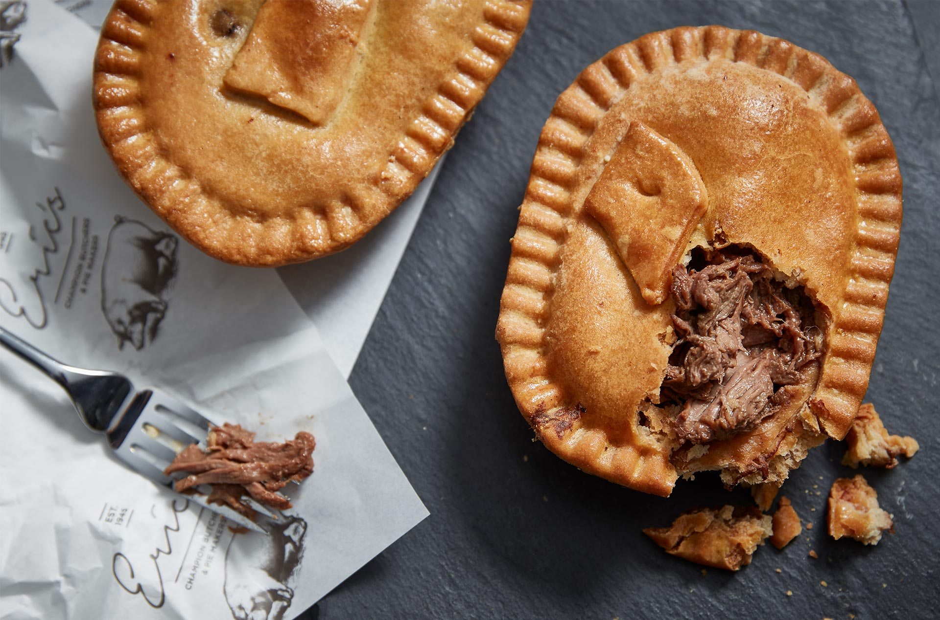 Pies on branded wrapping